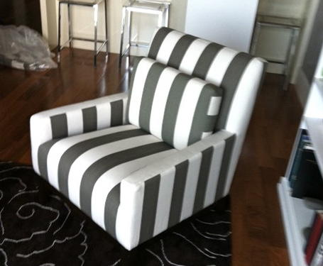 Had Mod Reupholster 2 Of These Pottery Barn Chair In Thick Grey And White Stripes My Fav Restoration